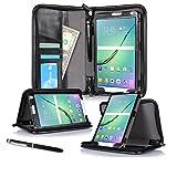 Galaxy Tab S2 9.7 Case, Samsung Galaxy Tab S2 9.7 Case, rooCASE Executive Portfolio Genuine Leather Folio Stand Smart Cover SM-T710 LTE SM-T715 Black