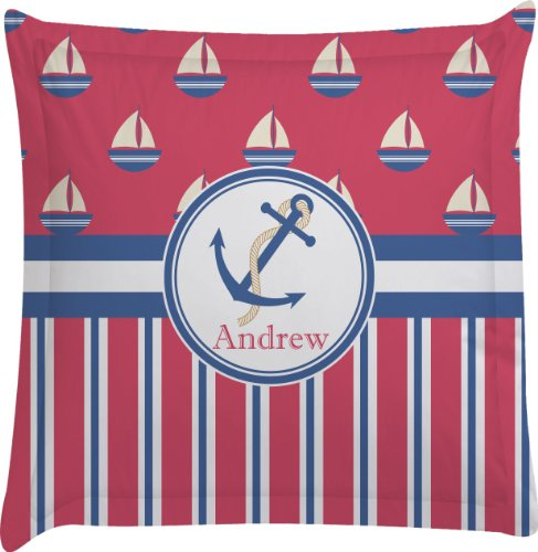 Sail Boats & Stripes Personalized Euro Sham Pillow Case front-982380