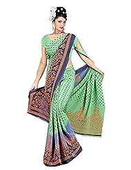 Amit Fashion Crape Printed Light Green Colored Saree