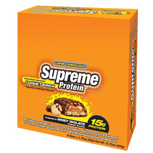 Supreme Protein 50 g Chocolate Caramel Cookie Crunch Whey Protein Snack Bars - Box of 9