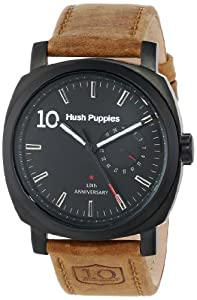 Hush Puppies 10th Anniversary Men's Automatic Watch with Black Dial Analogue Display and Brown Leather Strap HP.7119M.2502