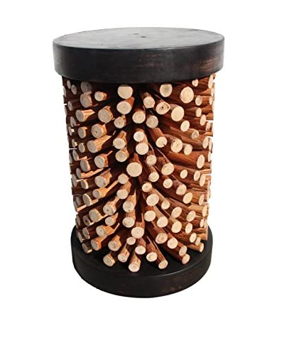 Asian Art Imports Branch Stool, Dark Brown and Natural Wood