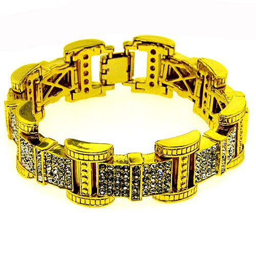 Men's Bling King Bracelet - White Iced Out - 24k Gold Plated - Bling