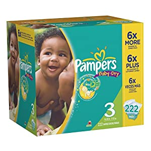Pampers Baby Dry Diapers, Size 3, 222-Count $36.75