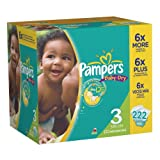 Pampers Baby Dry Diapers Economy Pack Plus Size 3 222 Count