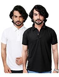 Elligator Stylish Black & White Polo T-Shirt Combo