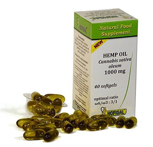 Olio di Canapa, 1000mg, Cannabis Sativa Oleum , spremuto a freddo , 40 capsule, Perfetto Equilibrio omega - 6 / omega - 3 : 3/1
