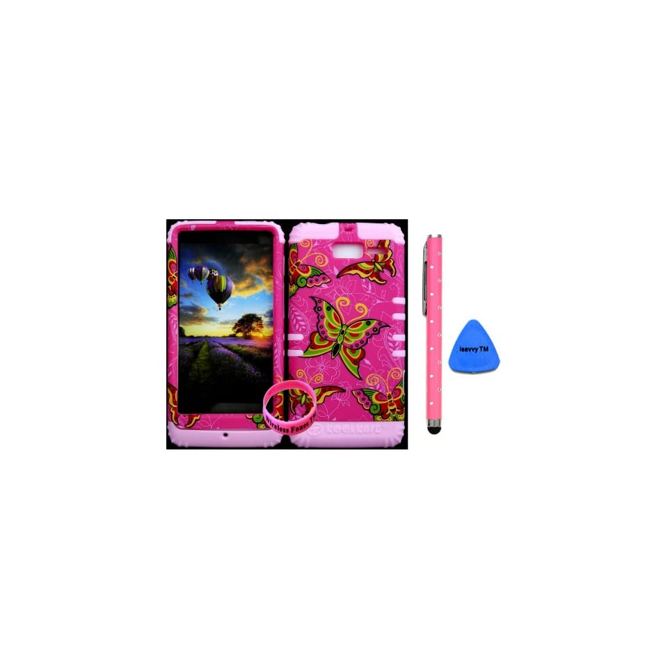 Bumper Case for Motorola Droid Razr M (XT907, 4G LTE, Verizon) Protector Case Butterfly on Pink Snap on + Light Pink Silicone Hybrid Cover (Stylus Pen, Pry Tool & Wireless Fones Wristband included)