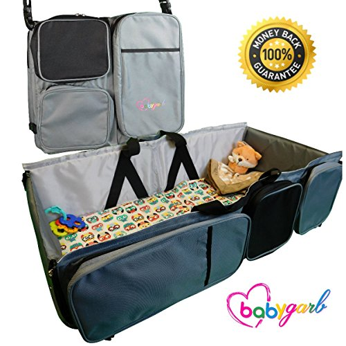 Best Buy! 3 in 1 Diaper Bag - Travel Bassinet - Change Station by BabyGarb. With EZ Travel Bed's fol...