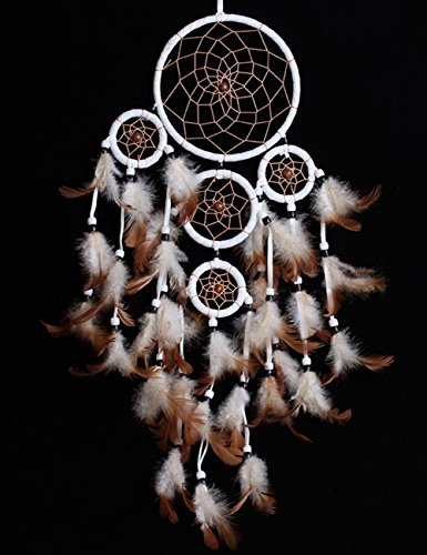 Handmade Decorative Dream Catcher, G2PLAY Complete Feathers Pendant Wind Chimes for Home Kids Bedroom Car Decoration (Five Catcher Brown)