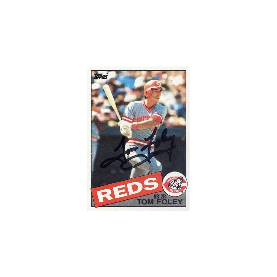 Tom Foley Autographed 1985 Topps #107 Card   Cincinnati Reds