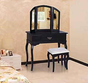 Coiffeuse table de maquillage commode coiffer avec tabouret, tiroir et