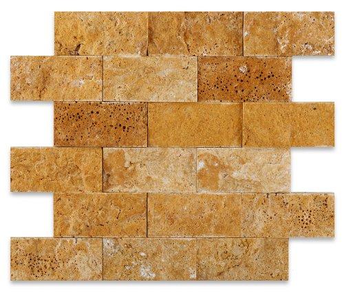 Gold/Yellow 2X4 Split-Faced Travertine Mosaic Tile