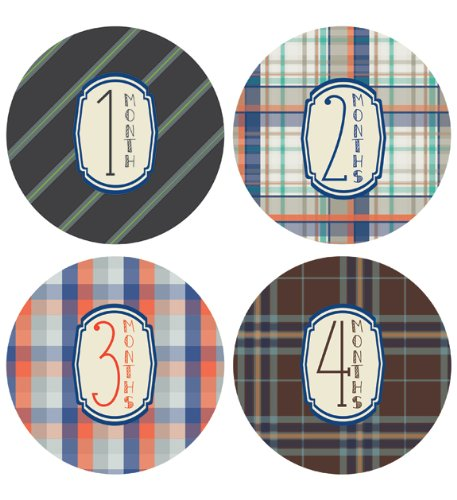 Lucy Darling Shop Monthly Baby Sticker - Baby Boy - Plaid Design - Months 1-12 - 1