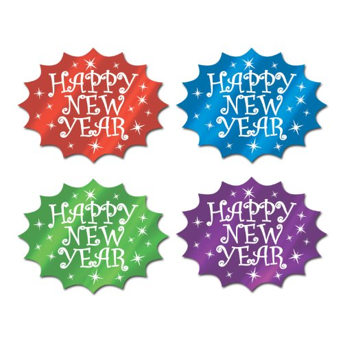 Foil Happy New Year Cutouts (asstd colors) Party Accessory  (1 count)