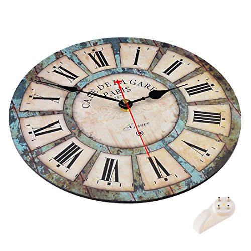 Wall clocks,Petforu,12 Inch Vintage France Paris French Country Tuscan Style Roman Numeral Design Silent Wooden Wall Clock B 3