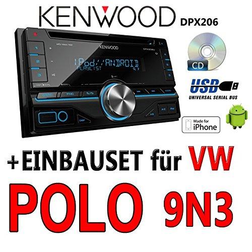 Volkswagen polo 9N3 kenwood dPX 206-2DIN uSB avec kit de montage