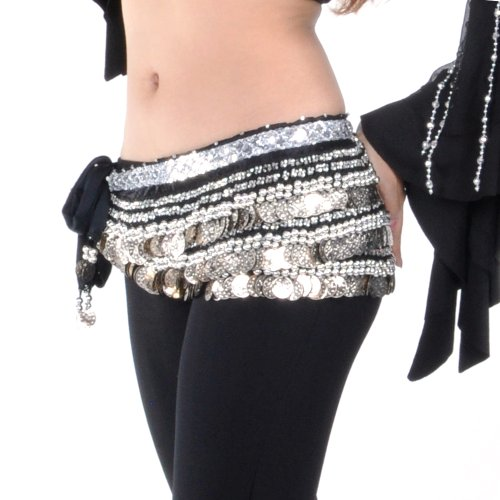 BellyLady Belly Dance Hip Scarf, Multi-Row Silver Coin Dance Skirt BLACK