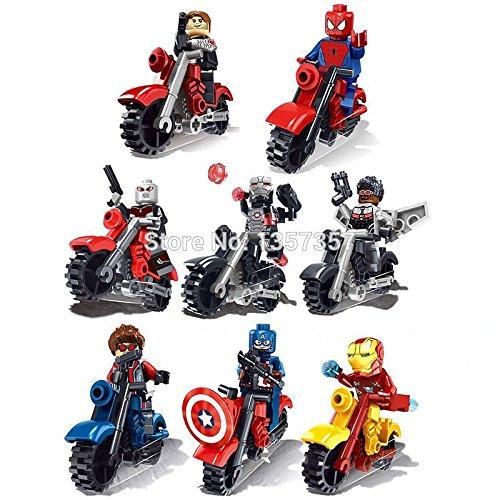 Superb good LOHO SX901 Super Heroes Avengers Motorcycle Minifigures Marvel Iron Man Spider-Man 8pcs/lot Building Block Model Toys Legoelieds