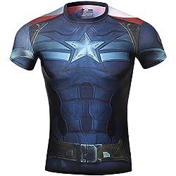 Cody Lundin® Hombres de Sonic Compresión Capitán América el Vengadores T-shirt Ropa fitness Camisetas (L, Captain America 2)