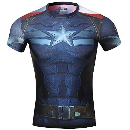 Cody Lundin® maschile Sonic compressione shirts Avengers Capitan America T-shirt Fitness in esecuzione collant (M, Capitan America 2)