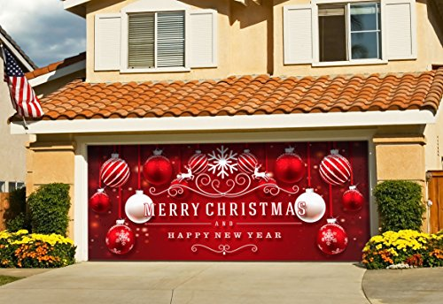 Christmas-Red-and-White-Ornaments-on-Red-Holiday-Garage-Door-Dcor-7x16