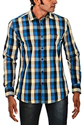Indipulse Men's Casual Shirt (IF1160309B, Blue and Black, XXL)