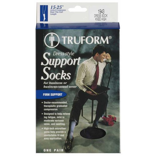 Truform, 15-20 mmHg of Compression, Mens Dress Overcalf, Medium, Black (Pack of 2)