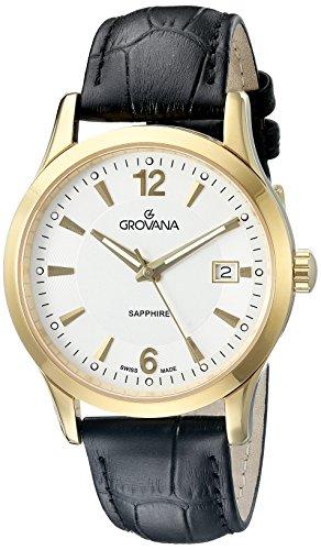 Grovana 1209,1512 - Reloj para hombre, correa de cuero color negro (agujas luminiscentes)