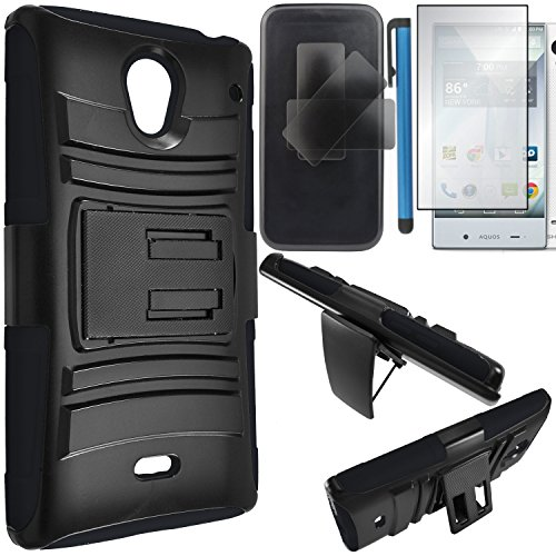 Sharp Aquos Crystal Case Combo(3-items)-HERCULES Dual- Layer Hard/Gel Hybrid Kickstand Armor Case w/ Holster (Black/Black)+ICE-CLEAR(TM) Screen Protector Shield(Ultra Clear)+Touch Screen Stylus (Sharp Aquos Case Armor compare prices)