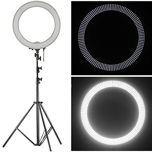 Neewer-Camera-Photo-SMD-LED-Ring-Light-Kit-for-VideoPortrait-and-Photography-LightingIncludes1-1848cm-240PCS-LED-SMD-Dimmable-Ring-Video-Light19-Feet260cm-Aluminum-Alloy-Light-Stand