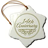 3dRose orn_154456_1 14th Anniversary Gift Gold Text for Celebrating Wedding Anniversaries Snowflake Ornament, 3-Inch, Porcelain