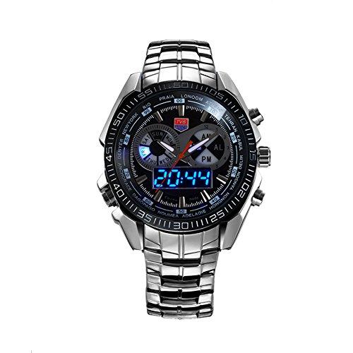 Dayan Stainless Steel Men Fashion Blue Binary Led Pointer Luxury Wristwatch 50M Water Resistance Black