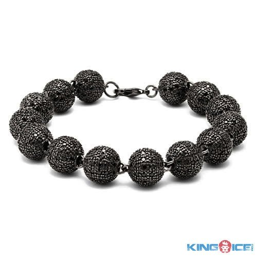 King Ice Men's Blackout Rappers Premium Disco Ball Bracelet