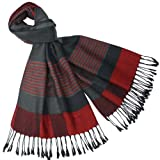 Men's Multi-Color Stripe Plaid Viscose Tassel Ends Long Scarf - Red and Black