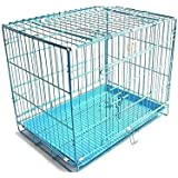 PETHUB QUALITY SQUARE STAINLESS STEEL DOG CAGE BLUE 30 INCHES