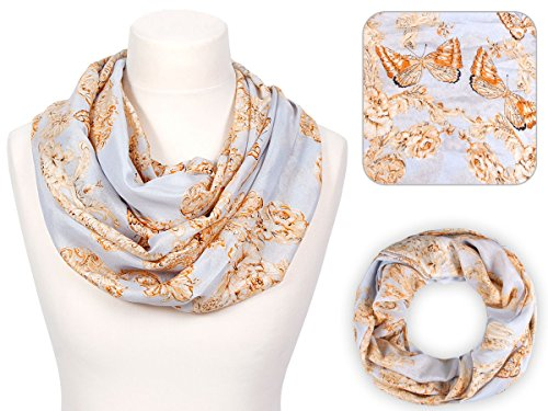 Sciarpa a tubo circolare, foulard da donna leggero e morbido estate primavera autunno inverno loop anello ragazze colorati stola accessorio moderno lifestyle, SCH-600.603:SCH-603d grigio arancione