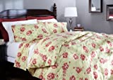 Pinzon 160-Gram Printed Flannel Full/Queen Duvet Cover, Brick Floral