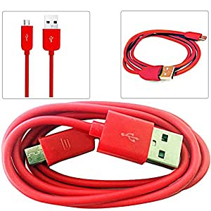 RED 1M Micro USB Data Sync / Charge Charger Charging Transfer Connectivity Adapter Cable Cord Lead Wire For  CELKON SIGNATURE HD A119Q Android Mobile Cellular Cell Phone