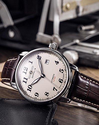 Zeppelin Herren-Armbanduhr XL LZ127 Graf Analog Automatik Leder 76565 4