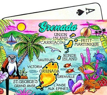 Grenada Map Collectible Souvenir Playing Cards