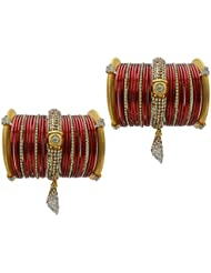 Red Jhumki Bridal Chura Wedding Bangles Chuda By My Design(size-2.6)