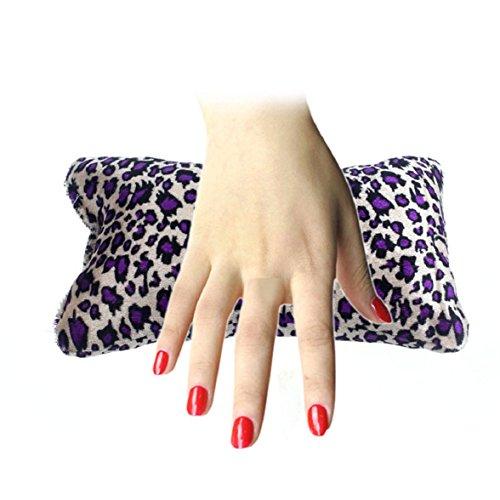Culater® Knochenform Nageldesign Leopard Kissen Spalte Schwamm Hand Kissen lila