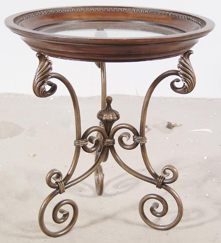 "Branoff Table 26"" Round Accent End Side Iron Base - Glass Top New"