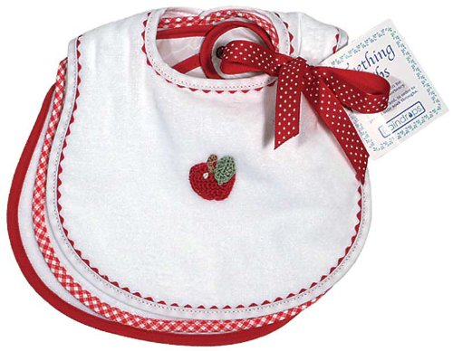 Raindrops Primary Teething Bib Set, White/Red