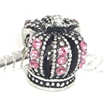 "Jewelry Monster Antique Finish ""Pink Crystal Rhinestone King's Crown"" Charm Bead for Snake Chain Charm Bracelet"