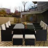 Outsunny 11pc RATTAN OUTDOOR GARDEN FURNITURE ALUMINIUM PATIO SET CUBE SOFA WEAVE WICKER DINING 6 CHAIR FIRE RETARDANT SPONGE BLACK
