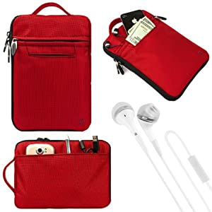"(Red) VanGoddy Hydei Bag Case for RCA / SVP 7"" Tablet + White VanGoddy Headphones from Electronic-Readers.com"