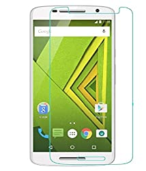 Motorola Moto X Play Compatible Tempered Glass Screen Protector (Antishock, Curved Edged) (Pack of 2, Only Front Transparent Screen Protector) (Combo Offer, get a VJOY EP-10 Champ in the ear earphone, with mic (BLUE) Compatible with Motorola Moto X Play worth Rupee 599/- absolutely free with Screen Protector)