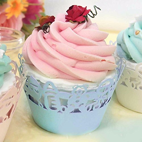 Home Product 12 pcs Laser Cut Cupcake Cake boxes Wrappers Wraps Collars Liners Wedding Party Favor Baby Shower